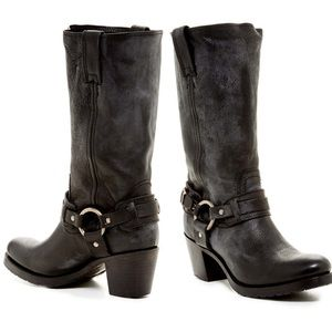Frye Jane Belted Harness Black Leather Moto Boots